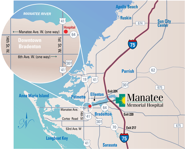 Manatee Memorial Hospital Direction Map